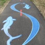 Yin Yang Fish Art on the Anacostia Trail in Washington DC