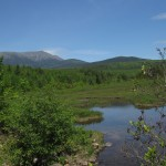 View of Mount Katahdin from Abol Bridge in Maine