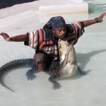 "Alligator Wrestler Performs the ""Kiss of Death"" in the Miccosukee Village"