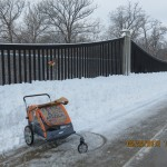 Pushcart in the Snow Outside Lee's Summit