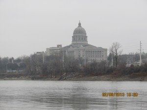 Jefferson City State Capital Building From the Other Side of the Missouri River