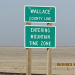 Mountain Time Zone Sign Outside Wallace, Kansas
