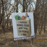 One Kansas Farmer Feeds More Than 128 People Sign Outside Silver Lake, Kansas