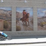 Pushcart by a Pony Express Mural in Ely, Nevada