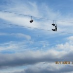 Shoes on the Powerline in Shawneetown, Illinois