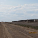 Train Goes into the Distance Outside Grainfield, Kansas