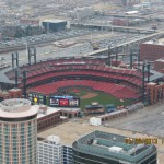 View of Busch Stadium from the Gateway to the West in St Louis