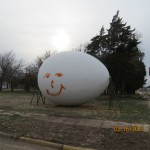 Tipped and Graffiti'd Egg in Wilson, Kansas