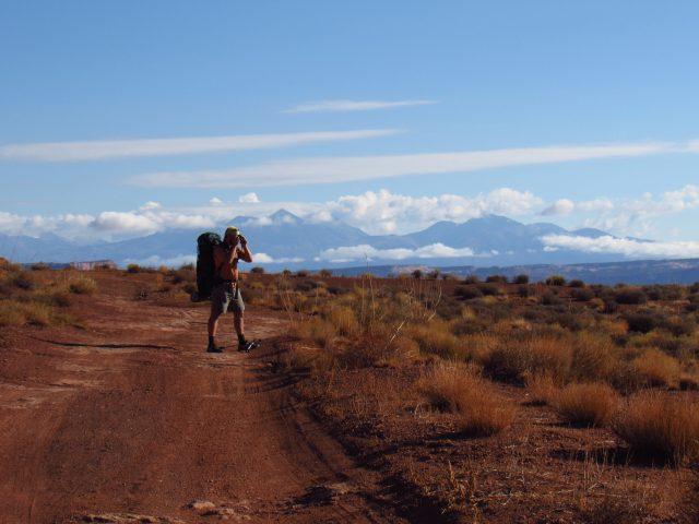 Raisin Rob the Photographer with the La Sal Mountains